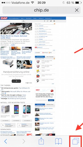 iOS 8: tab bar in the Safari Browser is missing - what to do?
