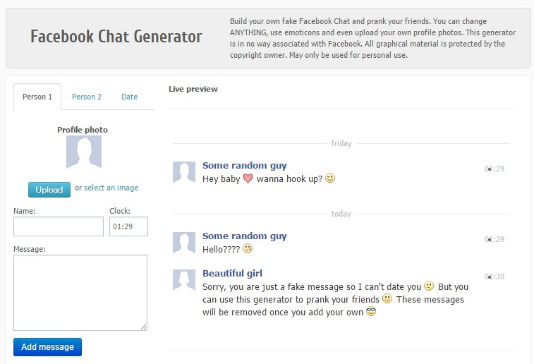Messages chat facebook fake How to