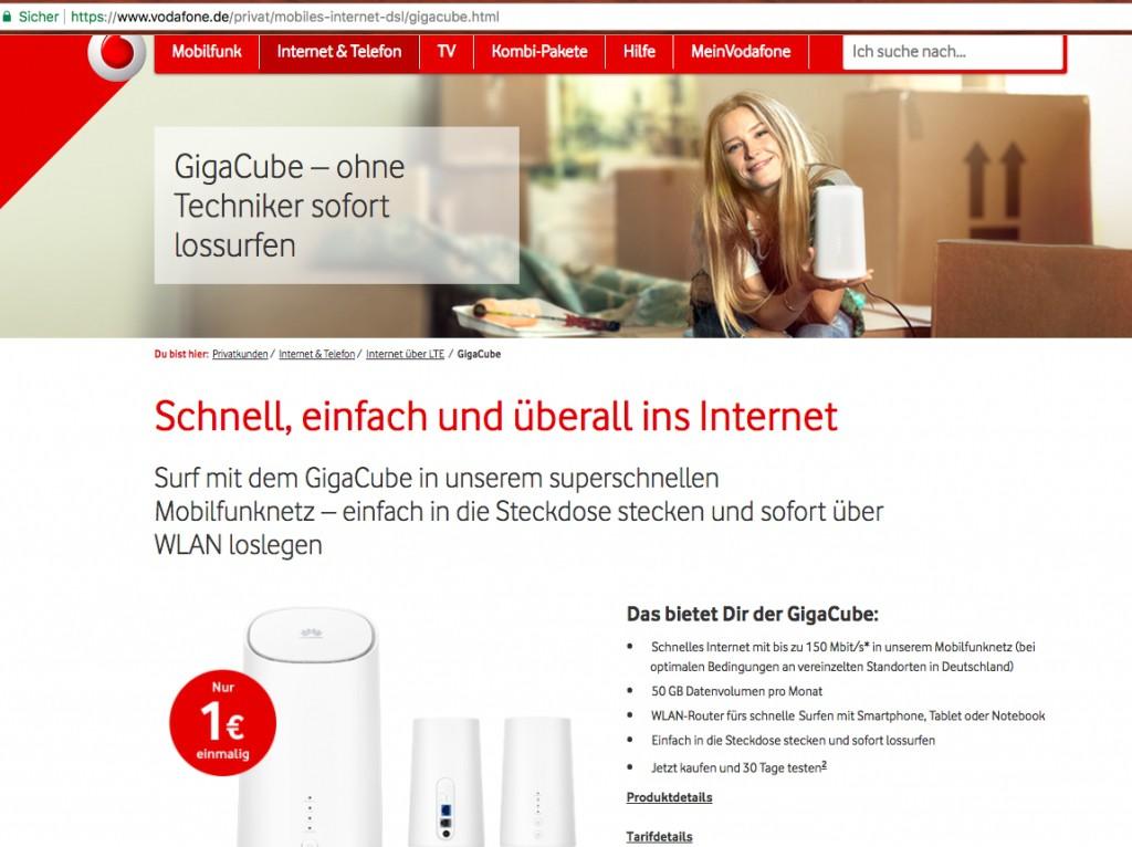 GigaCube Vodafone set up - so it goes